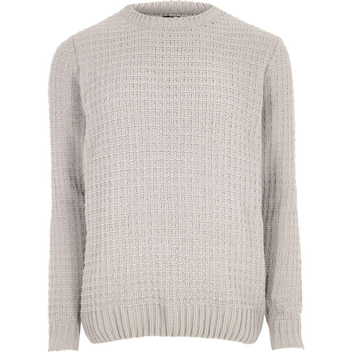 Light grey basket stitch knit jumper