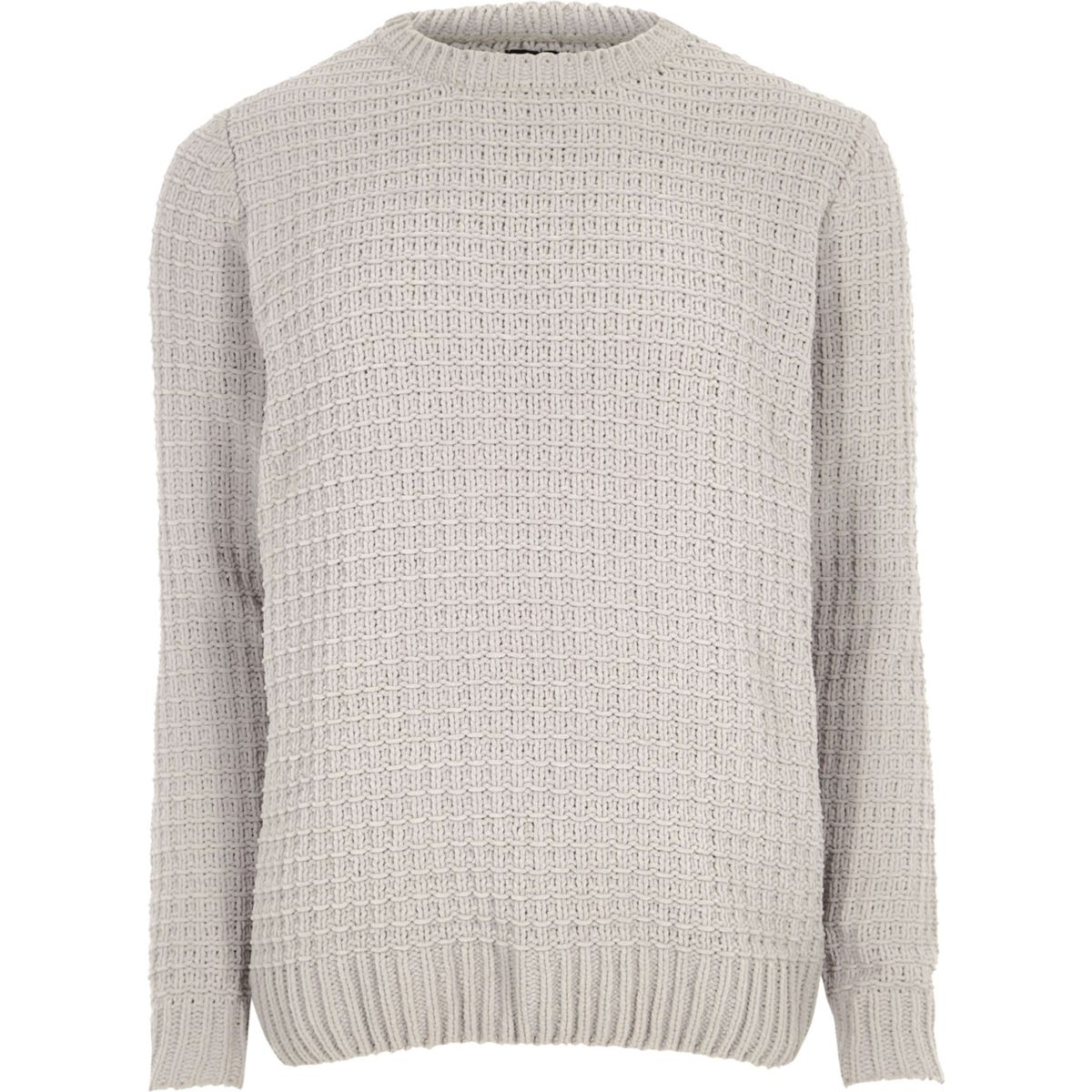 Light grey textured chenille knit sweater