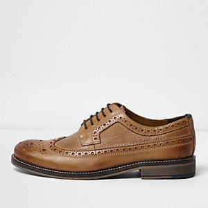 Light tan leather brogues