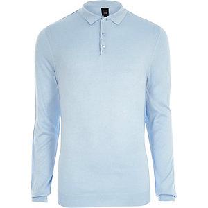 Blaues, langärmliges Slim Fit Polohemd
