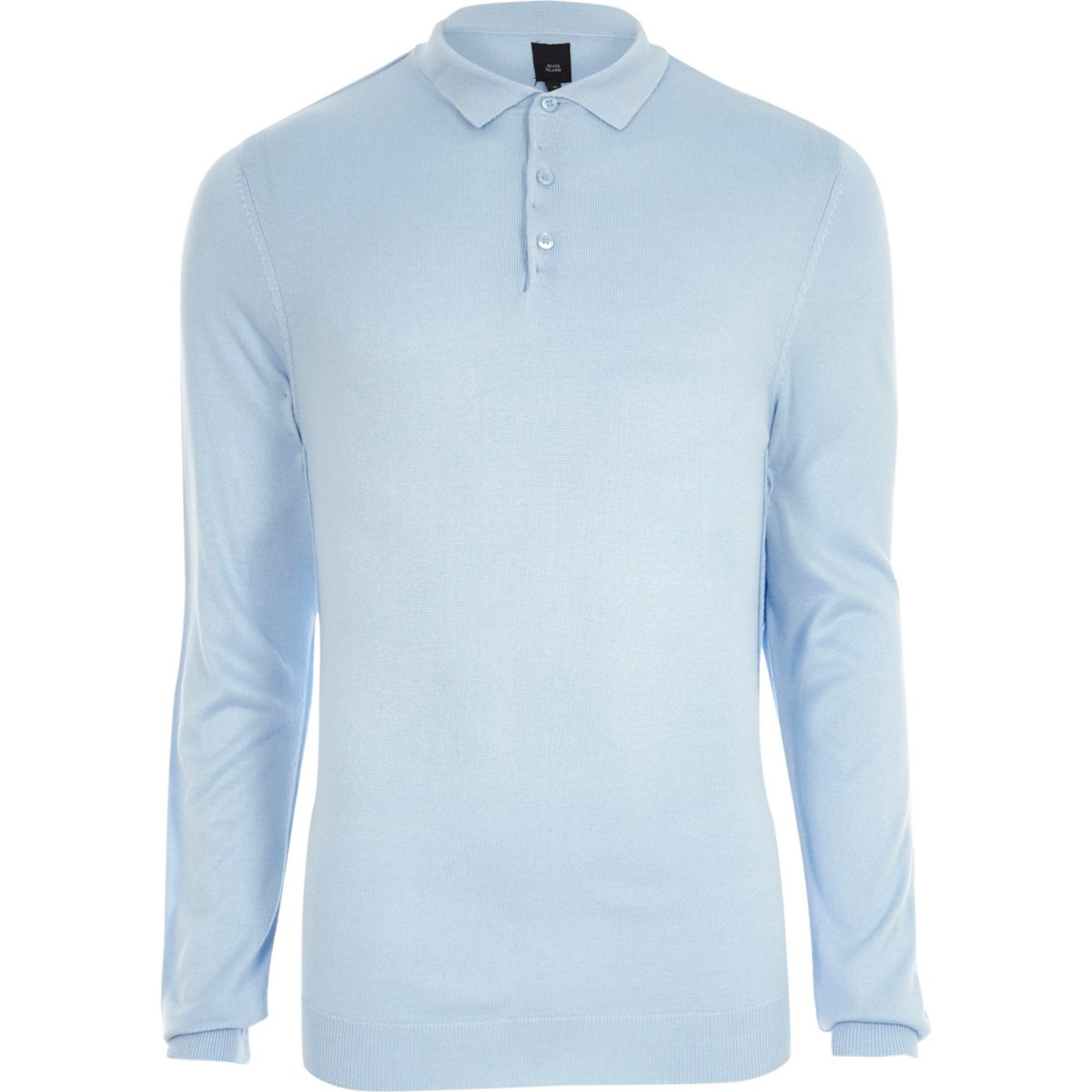 Blue knitted long sleeve slim fit polo shirt