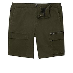 Khaki green skinny cargo shorts