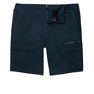 Navy skinny cargo shorts