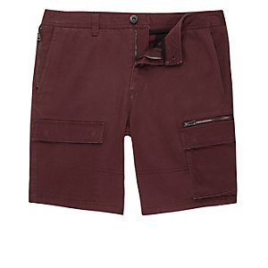 Rust red skinny cargo shorts