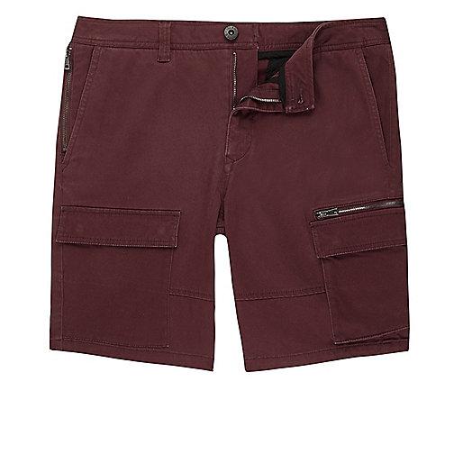 Rust red skinny cargo shorts