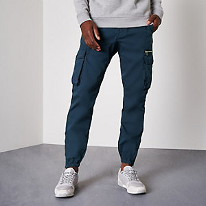Blue cargo jogger trousers