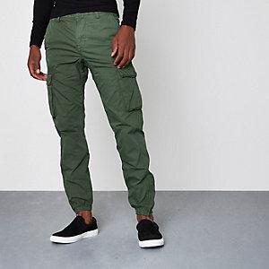 Khaki green cargo jogger pants