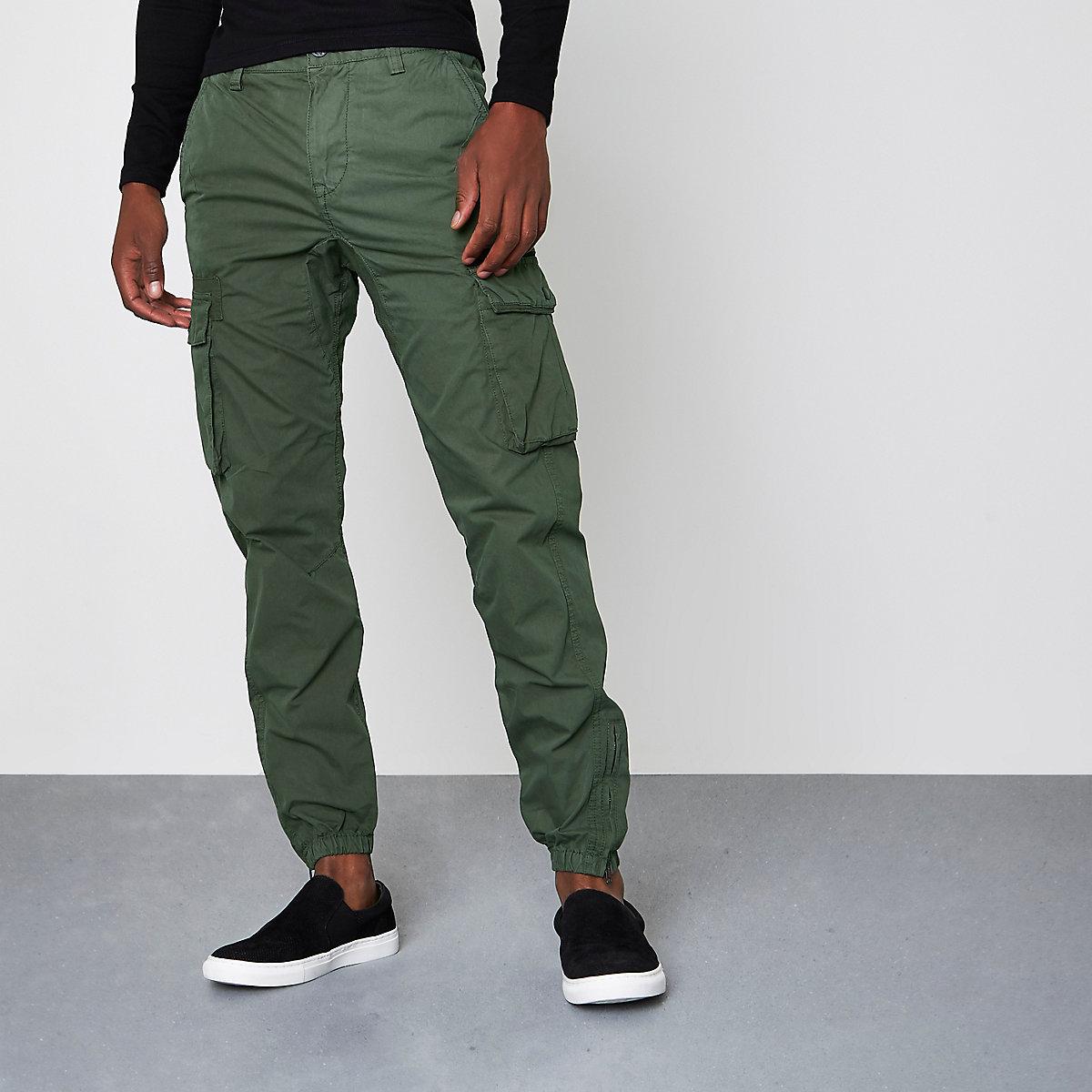 Khaki green cargo jogger trousers