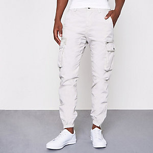 Light grey cargo jogger trousers