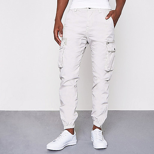 Light grey cargo jogger pants
