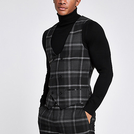 Grey check smart vest