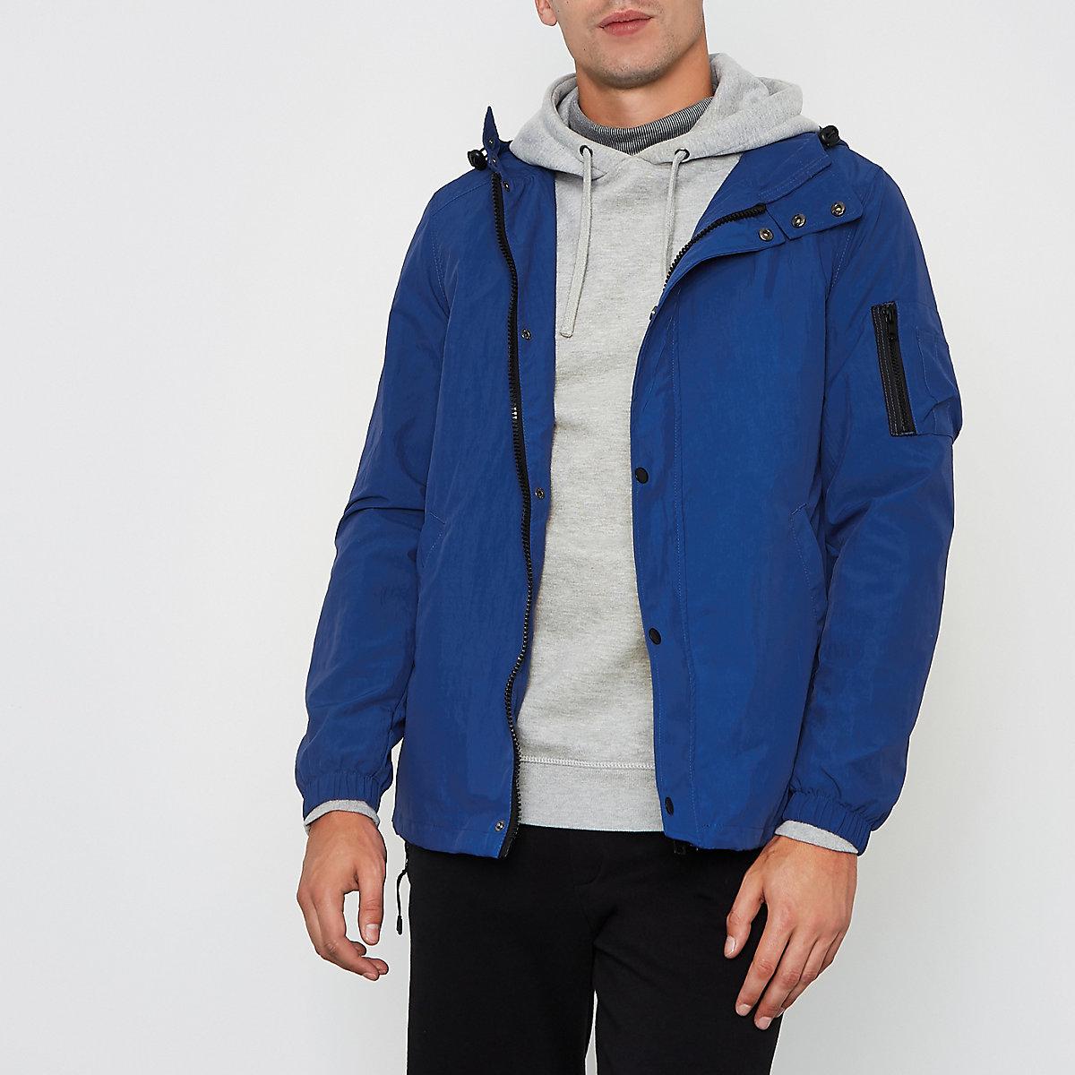 Blue hooded lightweight jacket