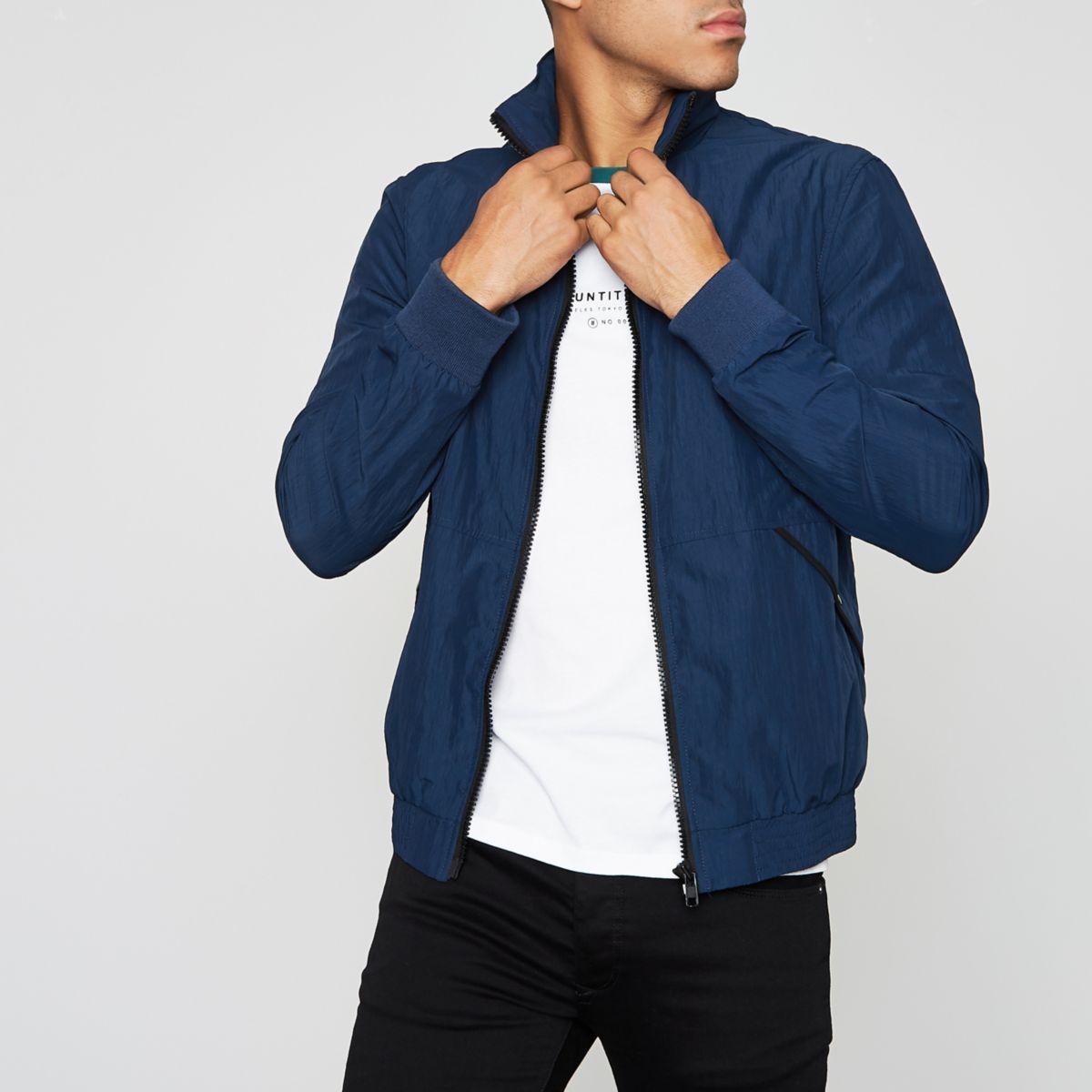 Blue funnel neck jacket