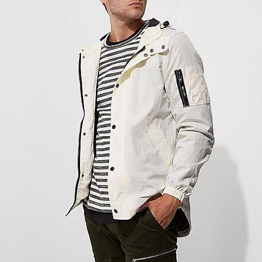 White hooded lightweight jacket