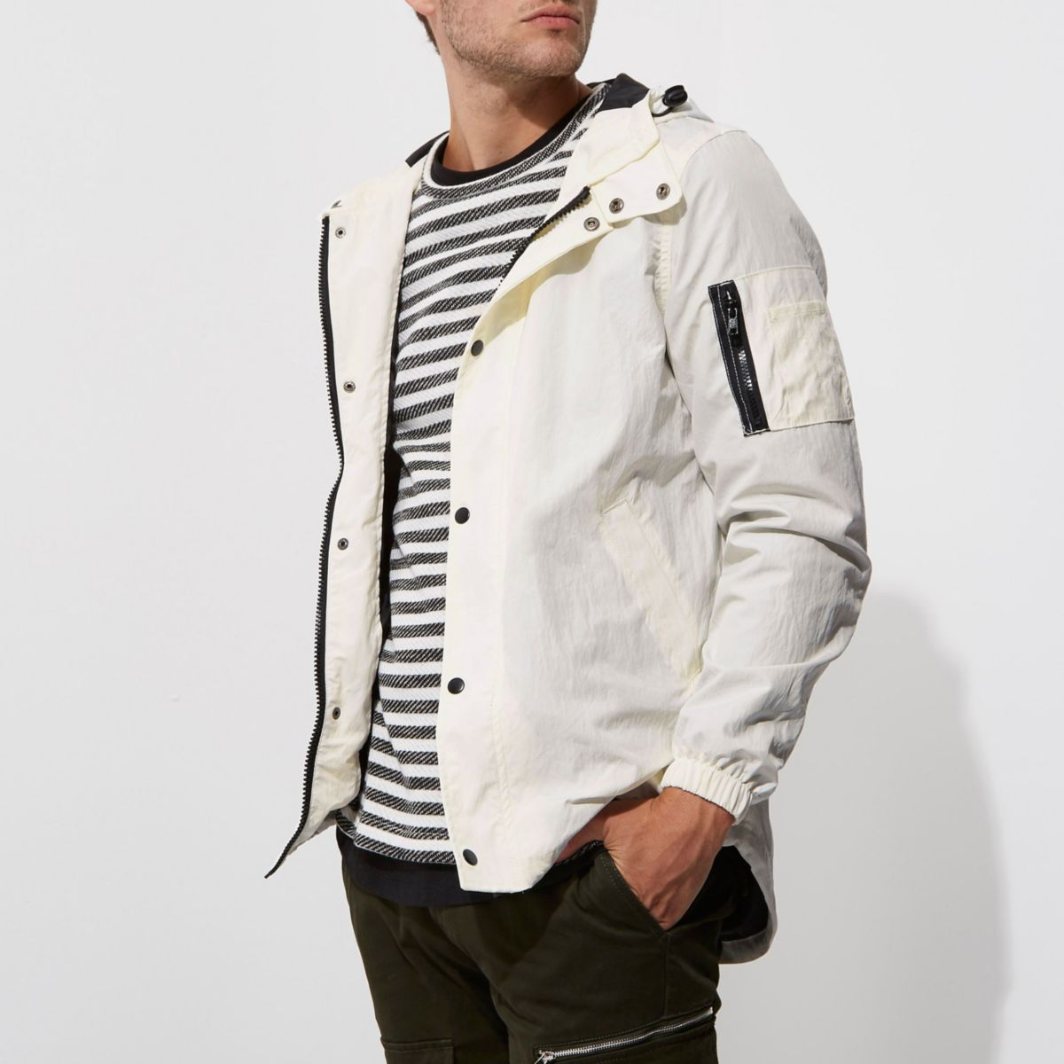 White hooded lightweight jacket