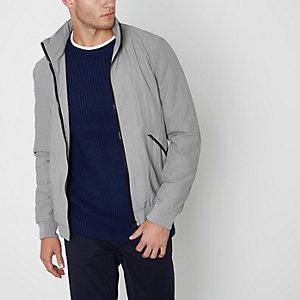 Steingraue Jacke mit Stehkragen