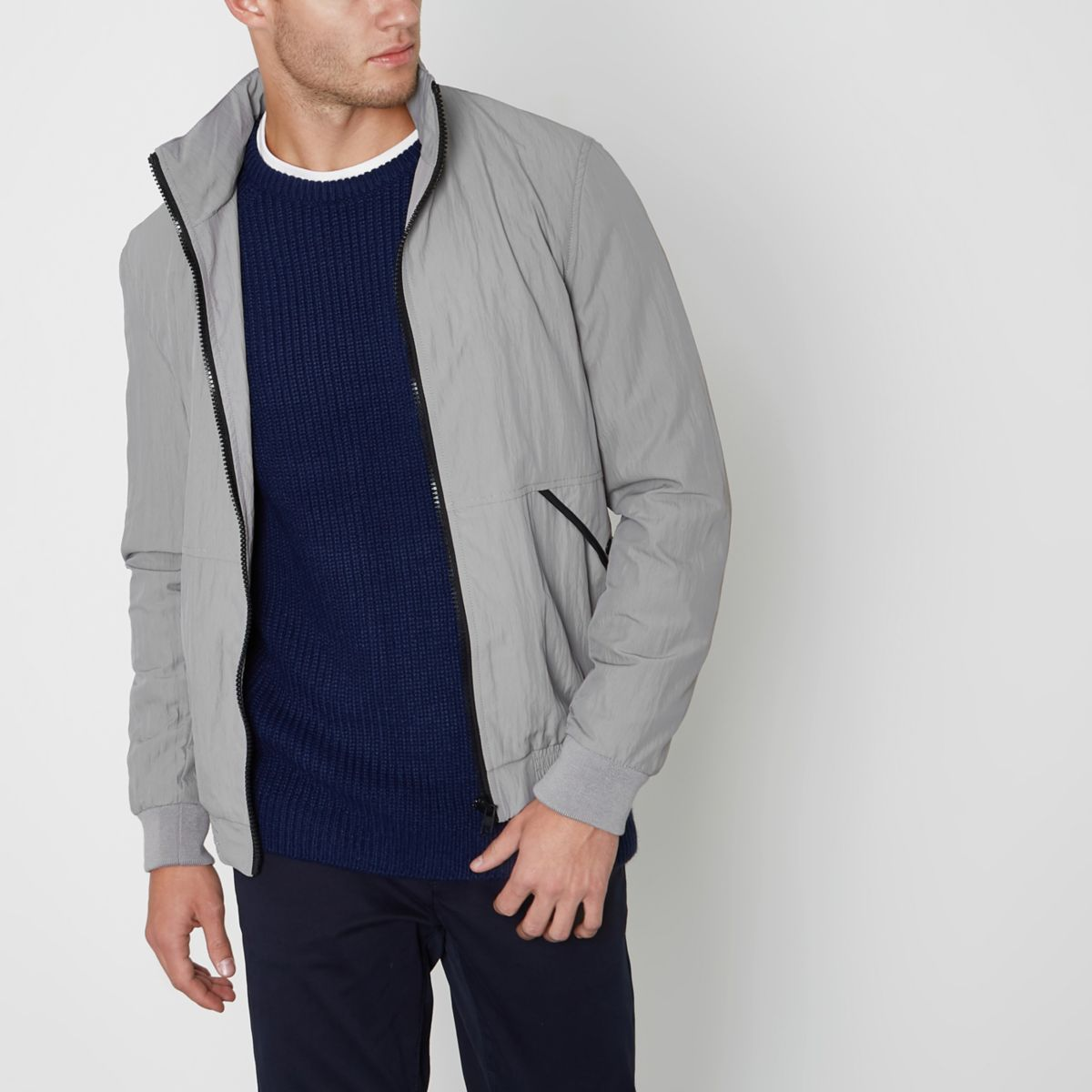 Stone funnel neck jacket