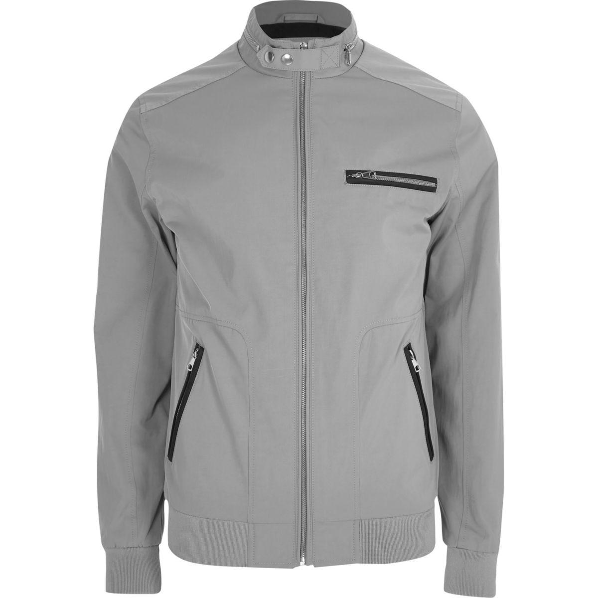 Grey racer neck lightweight jacket