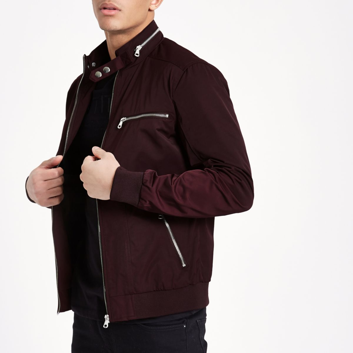 Burgundy racer neck lightweight jacket