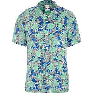 Grünes Kurzarmhemd mit Palmenmotiv