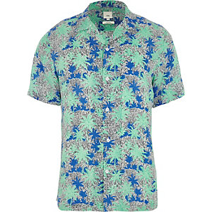 Groen overhemd met korte mouwen en palmenprint