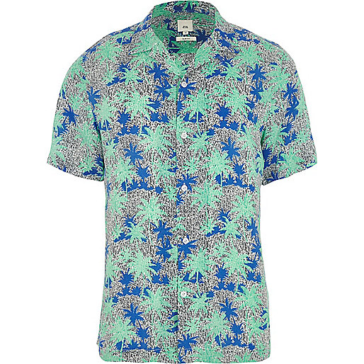 Green palm print short sleeve shirt