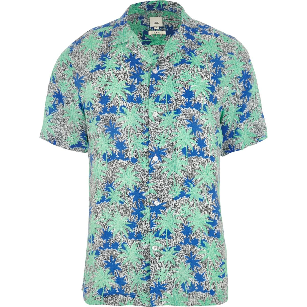 Green palm print short sleeve shirt