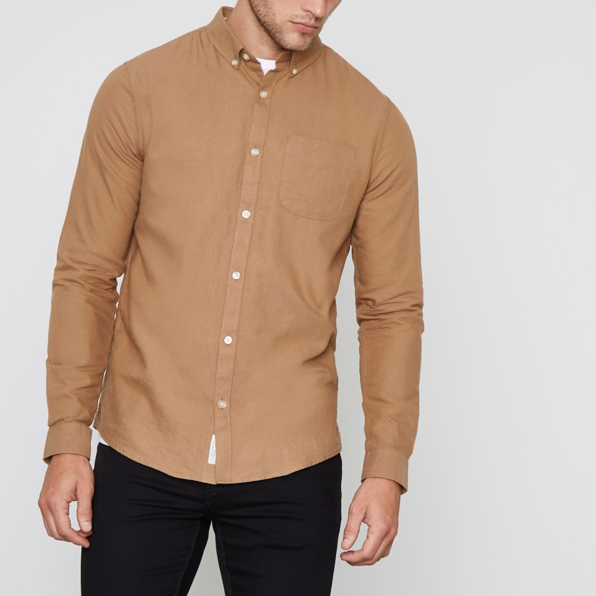 Brown button-down casual Oxford shirt - Long Sleeve Shirts ...