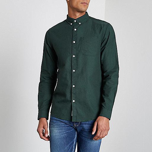 Bottle green long sleeve Oxford shirt