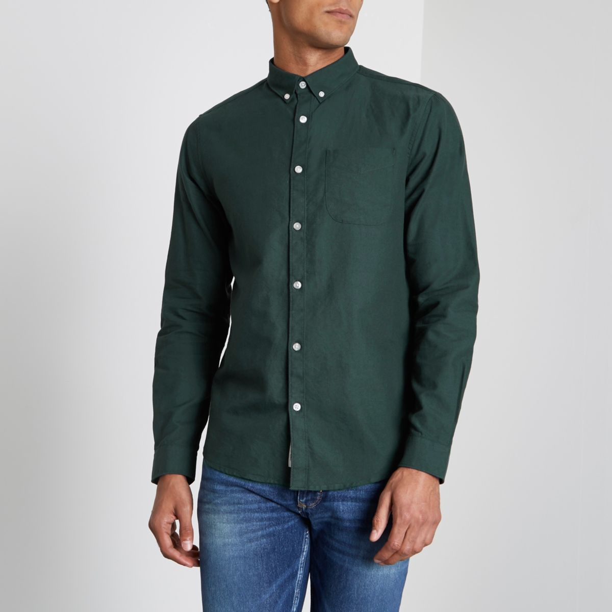 Bottle green long sleeve Oxford shirt - Shirts - Sale