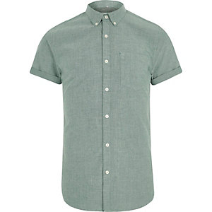 Green slim fit brushed short sleeve shirt