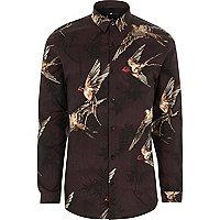 Red bird print muscle fit shirt