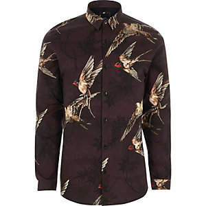 Red bird print muscle fit shirt