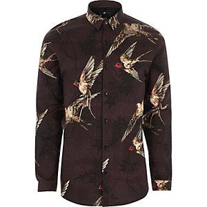 Rood aansluitend overhemd met vogelprint