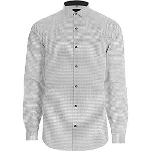 White mono geo print slim fit shirt