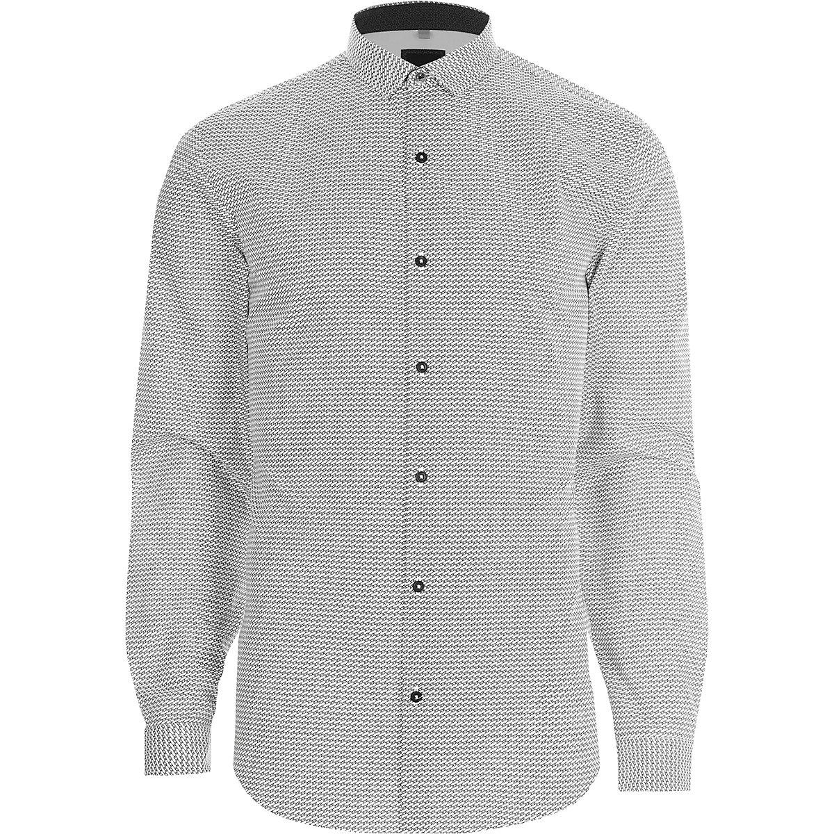Black mono geo print slim fit shirt