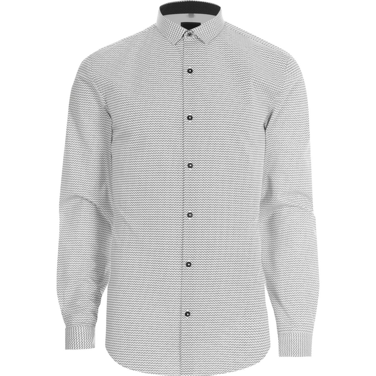 Zwart-wit slim-fit overhemd met geoprint