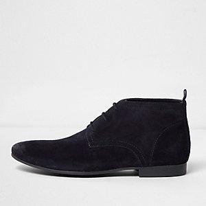 Marineblauw suède enkelhoge schoenen