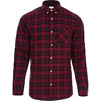 Rotes, kariertes Buttondown-Langarmhemd