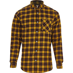 Gelb kariertes Buttondown-Langarmhemd