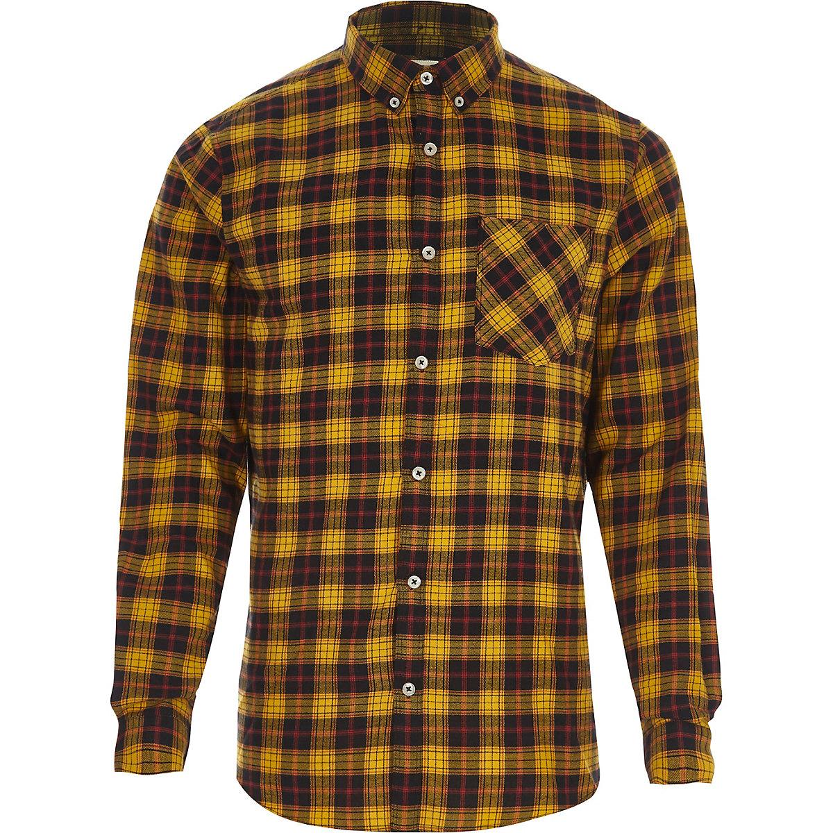 Yellow check long sleeve button-down shirt