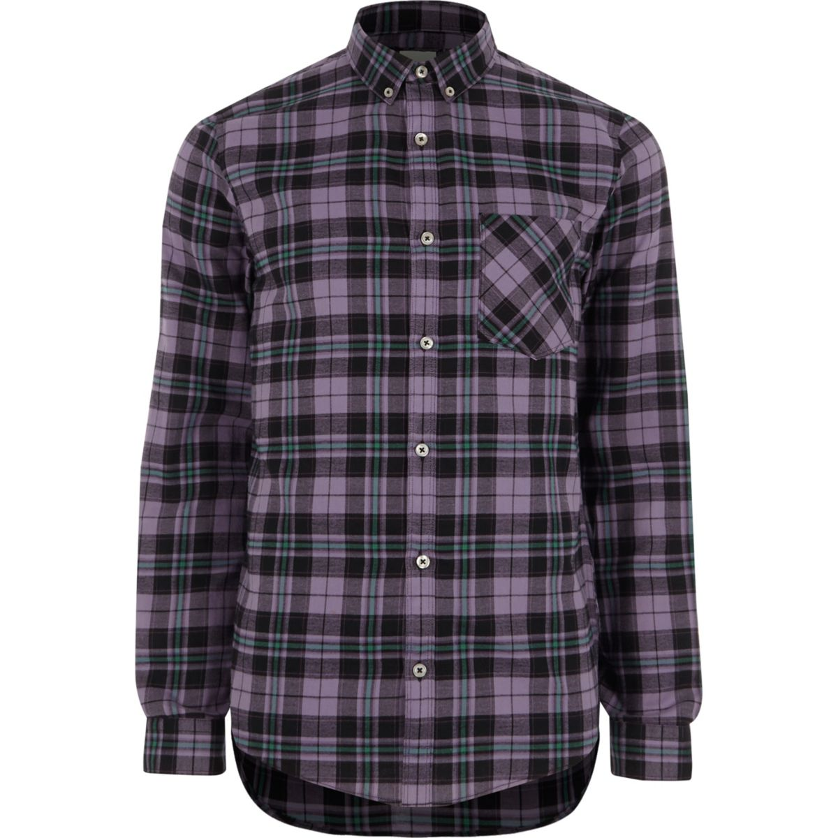 Purple check slim fit long sleeve shirt
