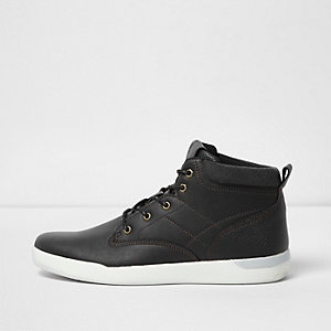Black hi top lace-up sneakers