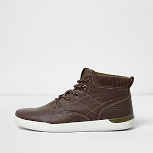 Dark brown high top lace-up trainers