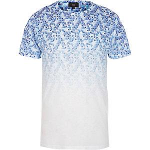 White geo fade print crew neck T-shirt