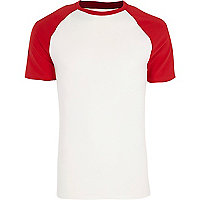 Red short raglan sleeve muscle fit T-shirt