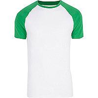 Bright green raglan sleeve muscle fit T-shirt