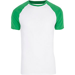 Bright green raglan sleeve muscle fit T-shirt