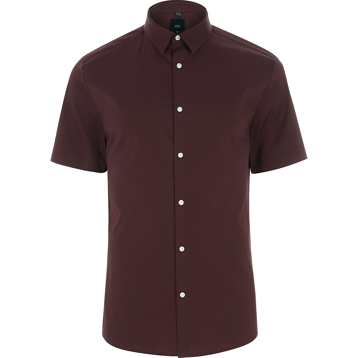 Burgundy short sleeve muscle fit shirt