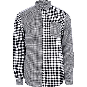 Grey mixed gingham print long sleeve shirt